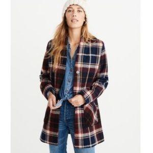 Abercrombie & Fitch Women's Wool Blend Plaid Coat